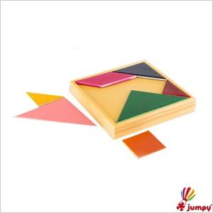 تنگرام رنگی جعبه چوبی